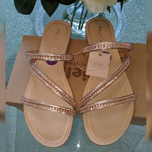 Mariella Shoes - Mariella Rose gold and crystals slip on Sandals